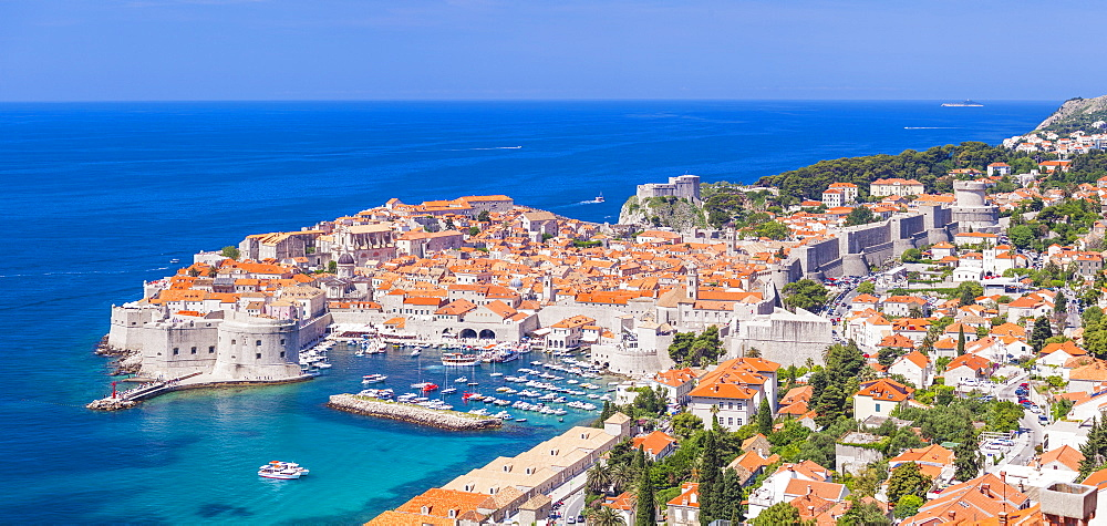 Aerial panorama of Old Port and Dubrovnik Old town, Dalmatian Coast, Dubrovnik, Croatia, EU Europe