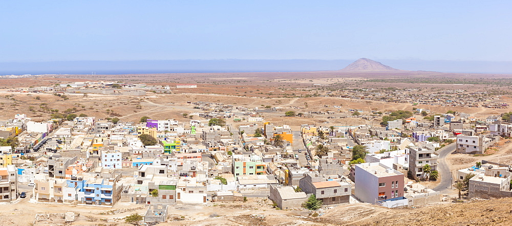 Aerial panoramic view of Espargos, capital city of the island of Sal, Cape Verde, Atlantic, Africa