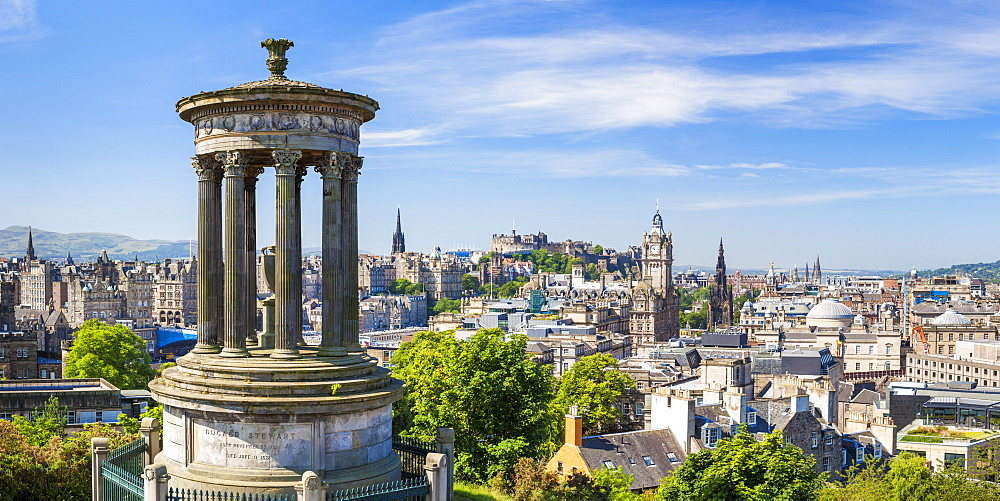 Dugald Stewart Monument, city centre and Edinburgh skyline panorama, Calton Hill, Edinburgh, Midlothian, Scotland, United Kingdom, Europe