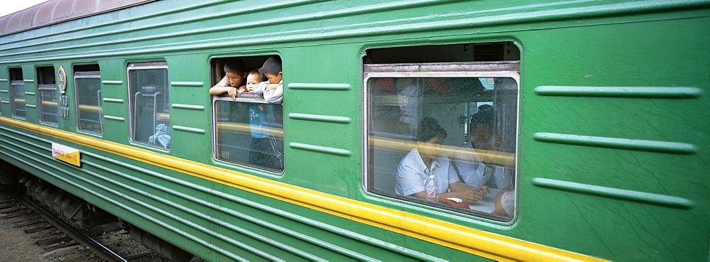 A carriage on the Trans-Siberian express train, Siberia, Russia, Europe