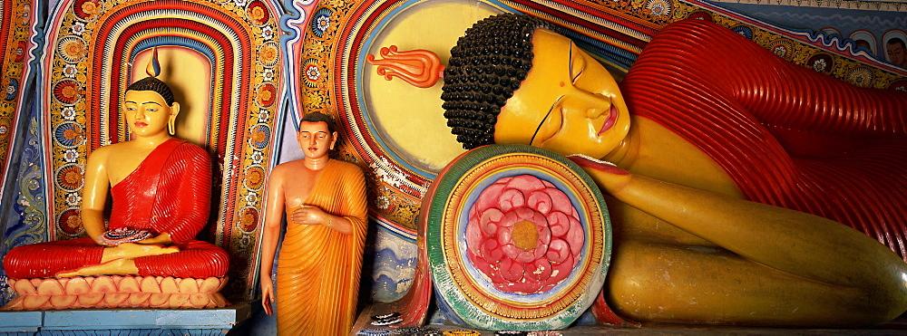 Statues of seated, standing and sleeping Buddha, Isurumuniya, Anuradhapura, UNESCO World Heritage Site, Sri Lanka, Asia