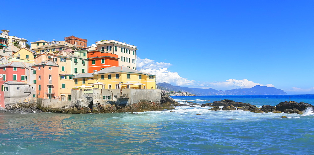 The old fishing village of Boccadasse, Genoa, Liguria, Italy, Europe - 718-2318