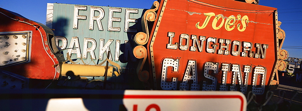 Signs in neon scrap yard, Las Vegas, Nevada, USA, North America