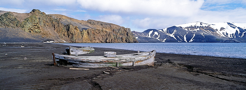 Old whalers boats, Whalers Bay, Deception Island, Antarctica, Polar Regions - 738-155