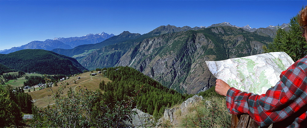 Panoramic view from Lod village, Chamois, Valle d'Aosta, Italy