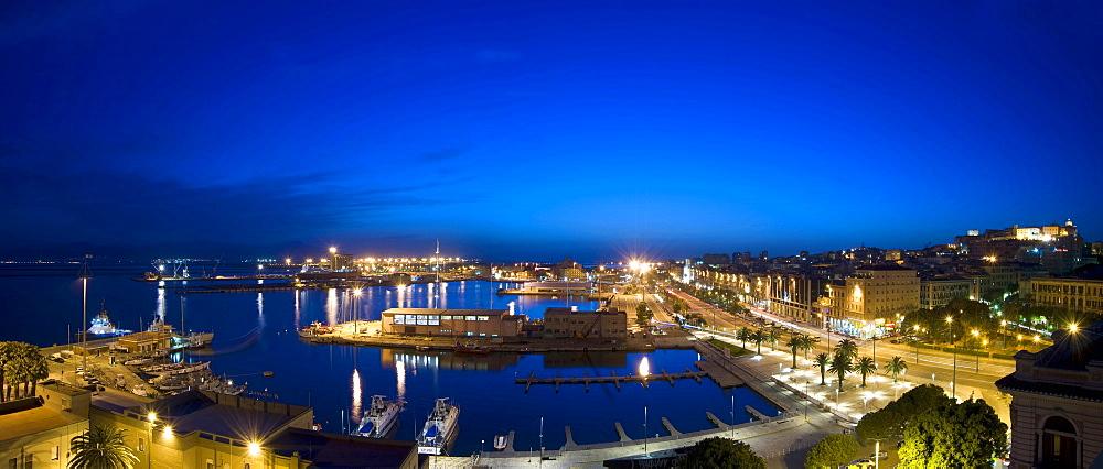 Skyline, harbour, via Roma, Castello, Cagliari, by night, Sardinia, Italy, Europe