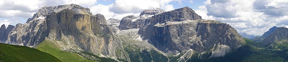 sella mountain and sass pordoi mountain, sella pass, italy
