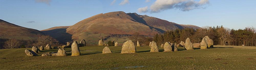 Castlerigg Stone Circle, Keswick, and the Saddleback Range, Lake District National Park, Cumbria, England, United Kingdom, Europe