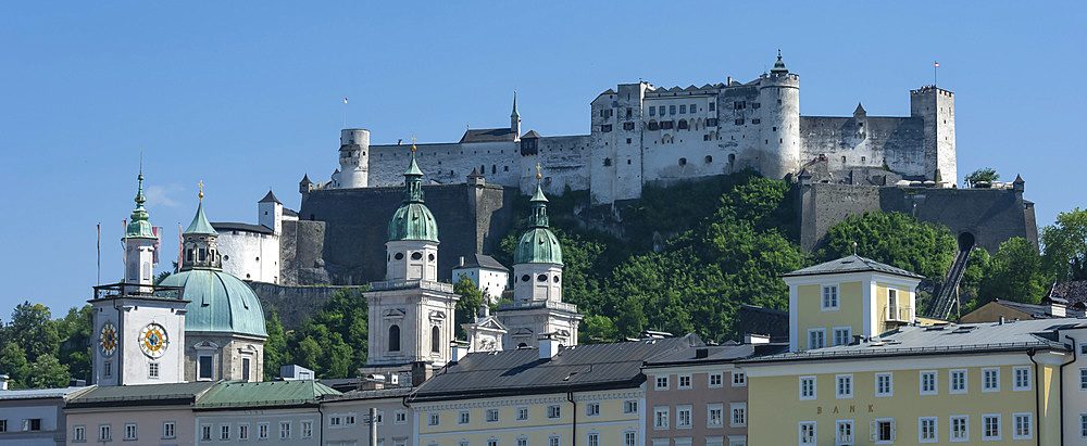 Rooftops, Cathedral twin towers, Citadel Castle, Salzburg, Austria, Europe