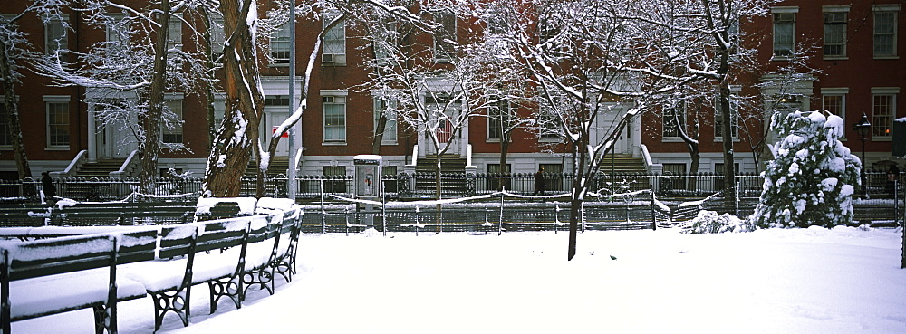 Snowcapped benches in a park, Washington Square Park, Manhattan, New York City, New York State, USA