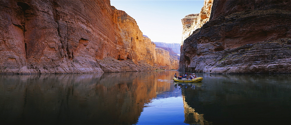 Group of people rowing an inflatable raft in a river, Colorado River, Grand Canyon National Park, Arizona, USA