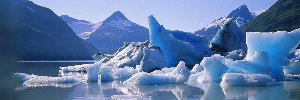Reflection of glaciers in a lake, Portage Lake, Chugach Mountains, Alaska, USA