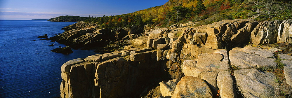 Rock formations at the coastline, Otter Cliffs, Acadia National Park, Maine, USA