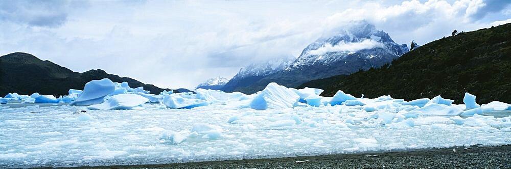 Glacier on a mountain range, Grey Glacier, Torres Del Paine National Park, Patagonia, Chile