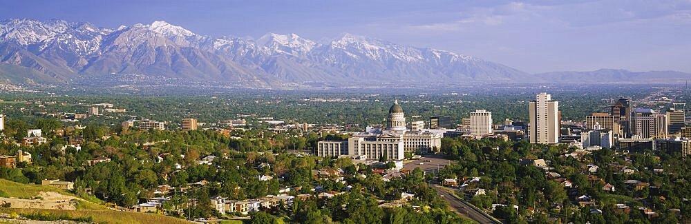 High angle view of a city, Salt Lake City, Utah, USA