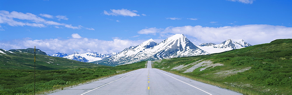Road leading to mountains, Haines Highway, St. Elias Mountains, British Columbia, Canada - 752-1706