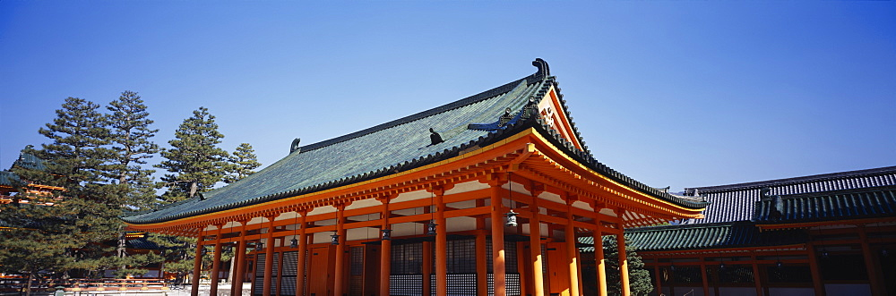 Low angle view of a pagoda, Heian Jingu Shrine, Kyoto City, Kyoto Prefecture, Kinki Region, Japan - 752-1714