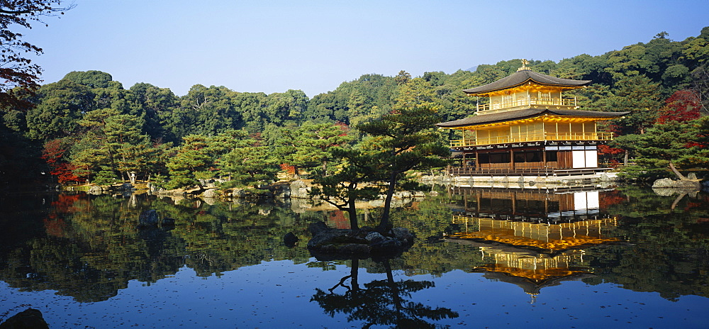 Reflection of a temple in a pond, Kinkaku-Ji Temple, Kyoto City, Kyoto Prefecture, Kinki Region, Japan - 752-1717