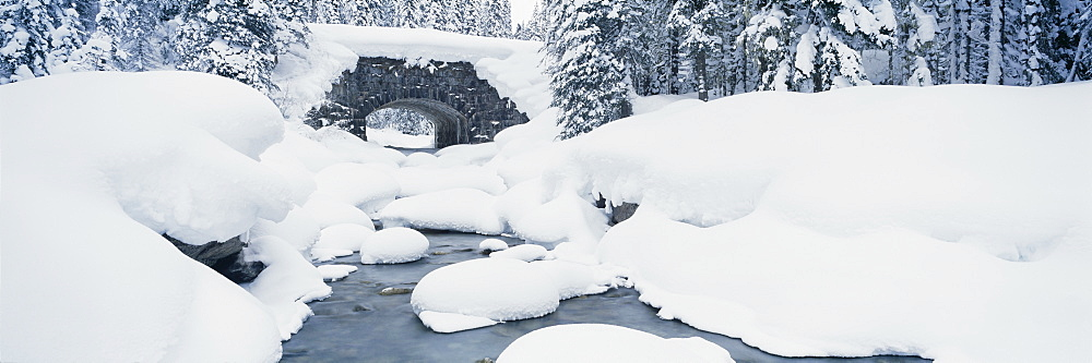 Snow covered bridge over a river, Illecillewaet River, British Columbia Glacier National Park, British Columbia, Canada - 752-1730