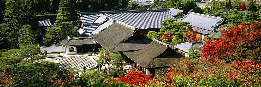Aerial view of a temple, Ginkaku-ji, Kyoto Prefecture, Japan - 752-1740