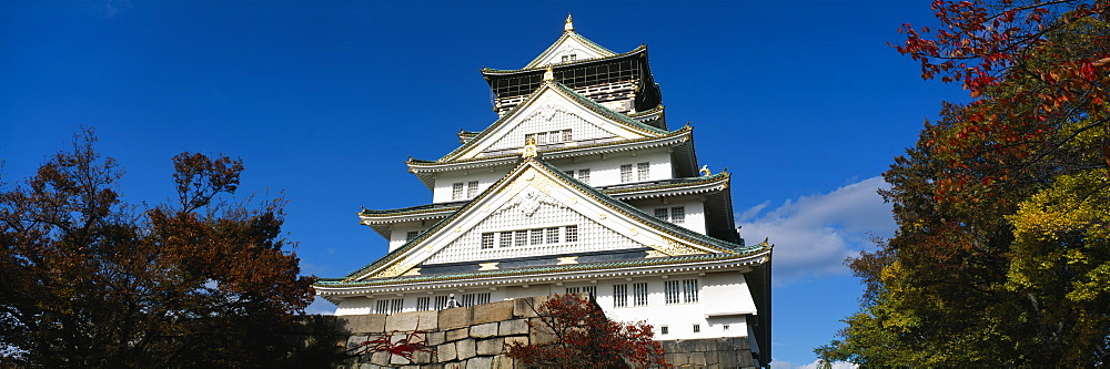 Low angle view of a castle, Osaka Castle, Osaka Prefecture, Kinki Region, Japan - 752-1741