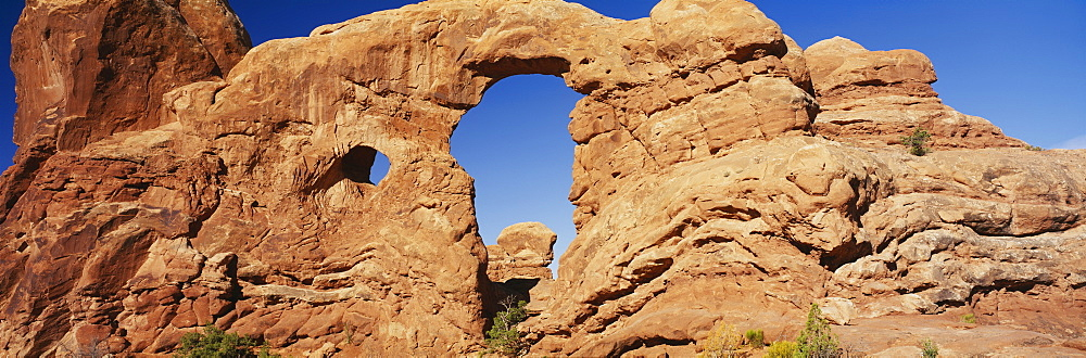 Low angle view of rock formations, Turret Arch, Arches National Park, Utah, USA - 752-1752