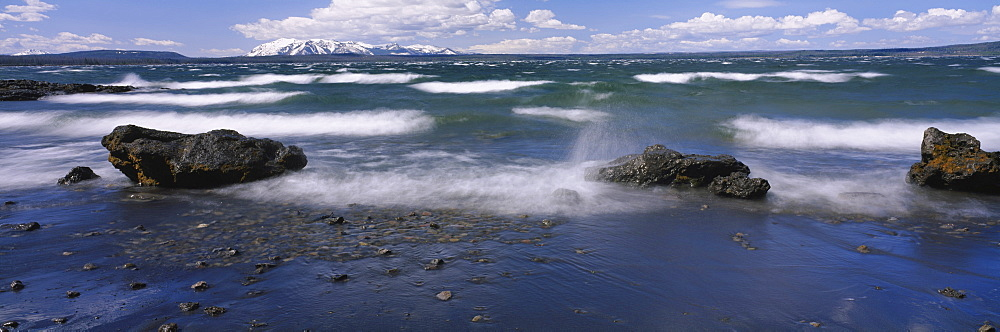 Waves in a lake, Yellowstone Lake, Yellowstone National Park, Teton County, Wyoming, USA - 752-1849