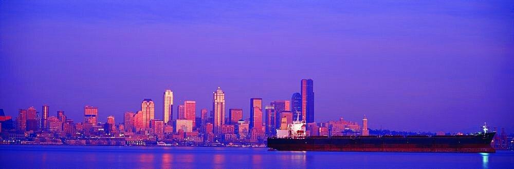 Sunset Freighter in Elliott Bay Seattle WA