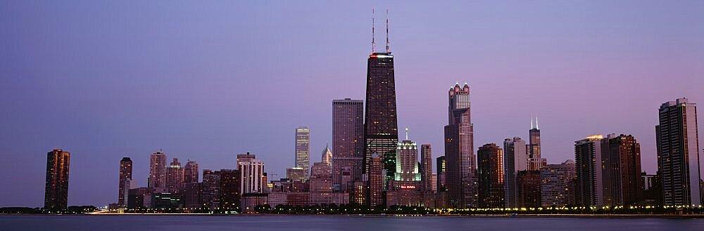 Night skyline Chicago IL USA