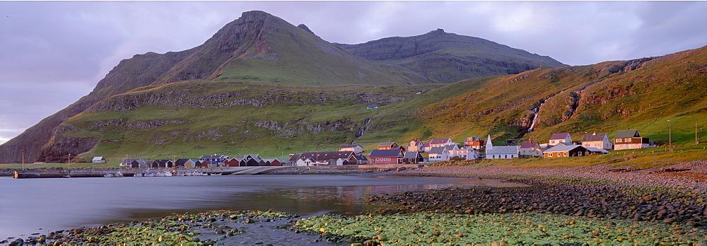 Famjin village, west coast of Suduroy Island, Faroe Islands (Faroes), Denmark, Europe