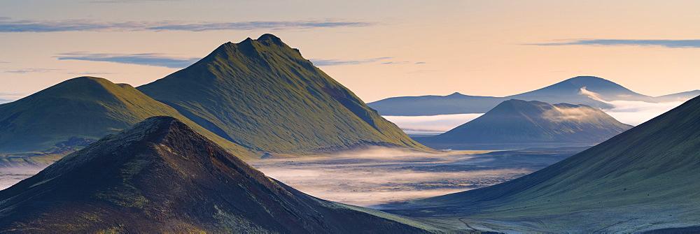 Hilltops and lava fields in Nordunamshraun, seen from Namshraun, Landmannalaugar area, Fjallabak region, Iceland, Polar Regions