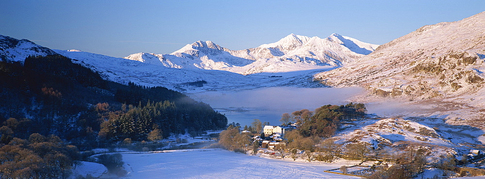 Mount Snowdon from Capel Curig in winter, Snowdonia National Park, Gwynedd, Wales, United Kingdom, Europe - 789-149