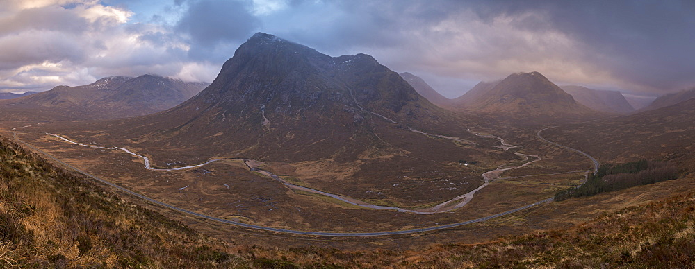 Buachaille Etive Mor and Rannoch Moor, passing into Glencoe Valley in winter, Scottish Highlands, Scotland, United Kingdom, Europe - 799-3497