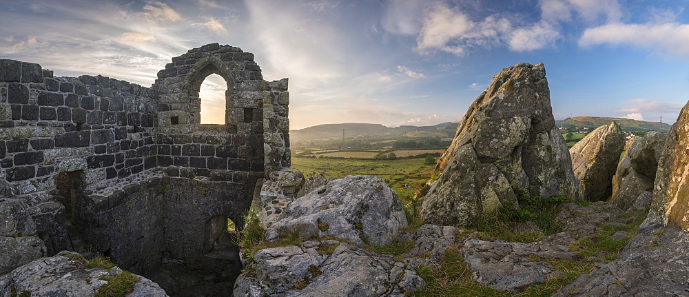 Abandoned ancient stone chapel on the summit of Roche Rock in Cornwall, England, United Kingdom, Europe - 799-3671