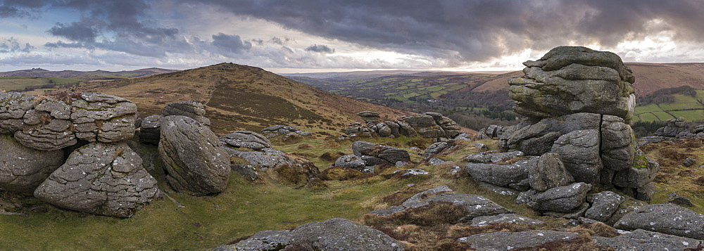 Dramatic granite outcrops at Honeybag Tor in Dartmoor National Park in winter, Devon, England, United Kingdom, Europe - 799-3704