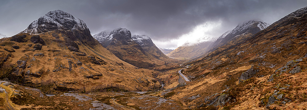 The Three Sisters of Glencoe from the Sanctuary in winter, Glencoe, Highlands, Scotland, United Kingdom, Europe