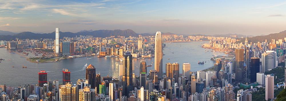 View of Kowloon and Hong Kong Island from Victoria Peak, Hong Kong, China, Asia