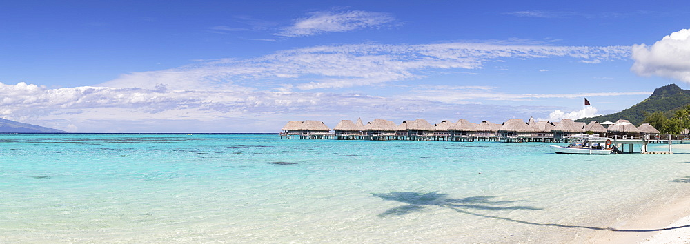 Overwater bungalows of Sofitel Hotel, Moorea, Society Islands, French Polynesia, South Pacific, Pacific