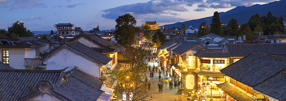 View of Dali at dusk, Yunnan, China, Asia - 800-2987