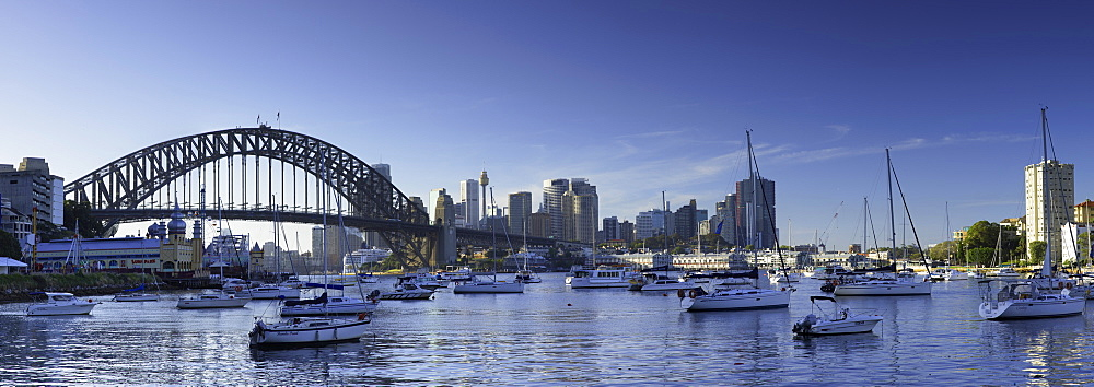 Sydney Harbour Bridge and skyline from Lavender Bay, Sydney, New South Wales, Australia, Pacific