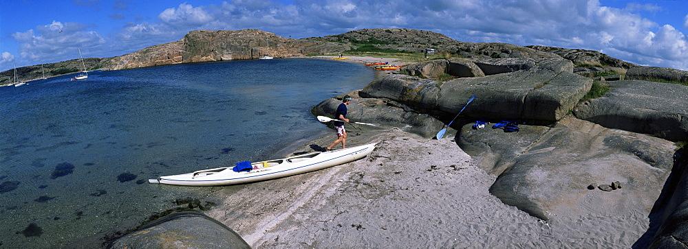 Kayaks in nature preserve on island of Dannemark, Bohuslan, Sweden, Scandinavia, Europe