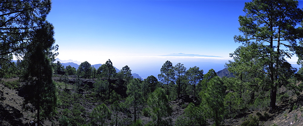 View west from Parque Natural de Tanadaba on Gran Canaria, to Mount Teide on Tenerife, Canary Islands, Spain, Atlantic Ocean, Europe