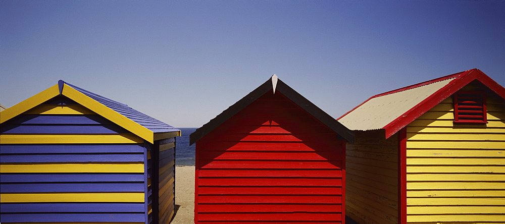 Row of beach huts, Melbourne, Victoria, Australia, Pacific - 812-130