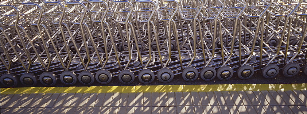 Baggage trolleys, Ibiza Airport, Spain, Europe - 812-183