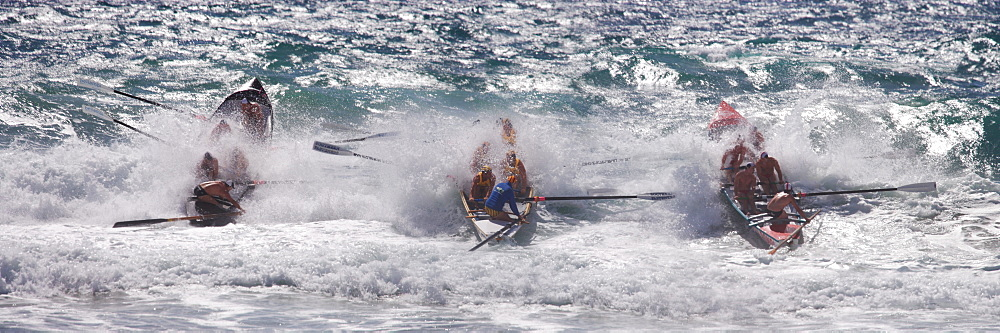 Surf rescue race at Manley, Sydney, New South Wales, Australia, Pacific
