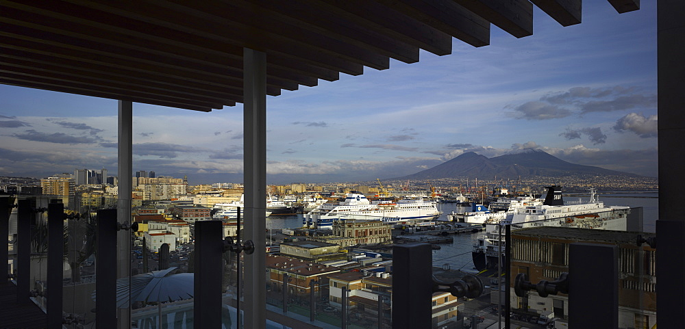 Hotel Romeo restaurant terrace and Mount Vesuvius, Naples, Campania, Italy, Europe - 815-2297