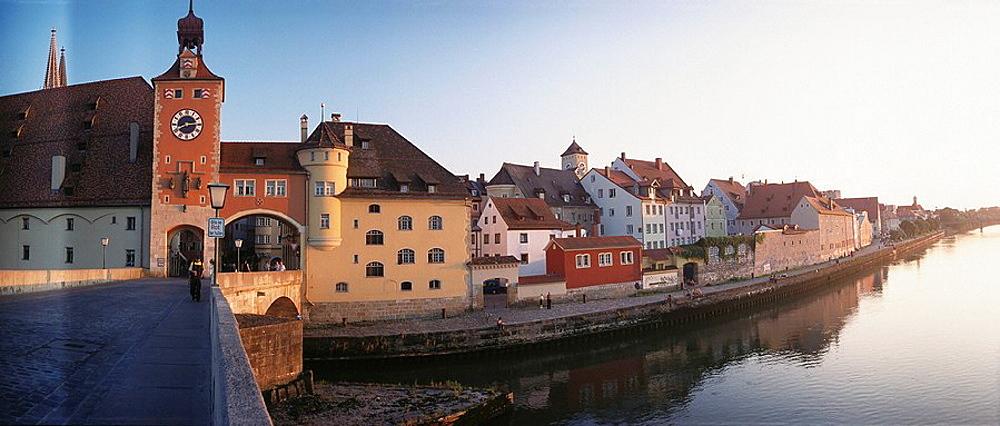 Regensburg seen from the Steinerne Brucke (Stone Bridge), Bavaria, Germany