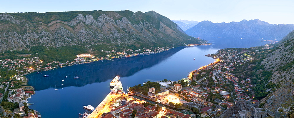 Panoramic dawn view of Kotor Bay and Kotor town from the ramparts of St John's Castle, UNESCO World Heritage Site, Montenegro, Europe