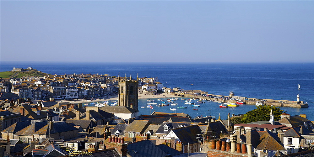 Panoramic photo of St. Ives church and old harbour, St. Ives, Cornwall, England, United Kingdom, Europe