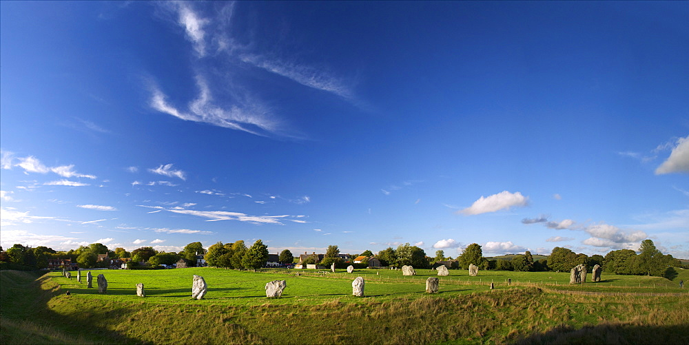 Panoramic photo of Megalithic stone circle, Avebury, UNESCO World Heritage Site, Wiltshire, England. United Kingdom, Europe